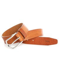 Camel Natural Closed Embossed Leather Belt