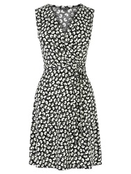 Warehouse Mono Floral Print Dress Multi Black