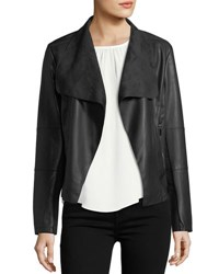 Chelsea And Theodore Open Front Faux Leather Jacket Black