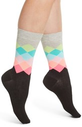 Happy Socks Faded Diamond Crew Blk Bright