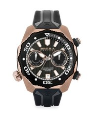 Brera Orologi Pro Diver Rose Goldtone Stainless Steel And Rubber Strap Watch Silver