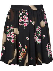 Moschino Pleated Floral Skirt Black