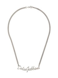 Dolce And Gabbana Logo Chain Necklace Silver