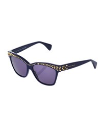 Alexander Mcqueen Studded Modified Square Acetate Sunglasses Dark Blue