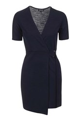 Topshop Belted Wrap Mini Dress Navy Blue