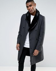 Criminal Damage Overcoat With Fur Collar Grey