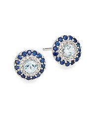 Saks Fifth Avenue Blue Sapphire Blue Topaz Diamond And 14K White Gold Stud Earrings