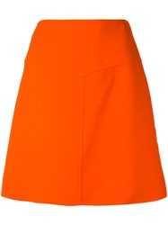 Courreges High Waisted V Cut Out Skirt Women Silk Polyester Wool 38 Red