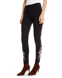 Johnny Was Darielle Leggings With Floral Embroidery Black