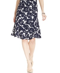 Jones New York Collection Flared A Line Floral Skirt White Navy