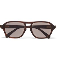 Brioni Square Frame Acetate Sunglasses Brown