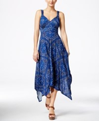 American Rag Printed Empire Waist Handkerchief Hem Maxi Dress Only At Macy's Indigo Multi