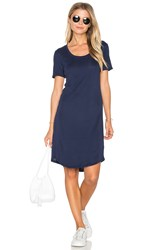 Splendid Codette Mini Variegated Rib Stripe T Shirt Mini Dress Navy