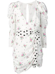 For Love And Lemons Ruched Print Dress White