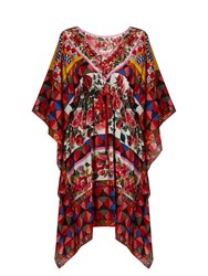 Dolce And Gabbana Carretto Print Silk Crepe De Chine Kaftan Pink Multi