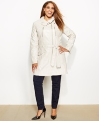 Kenneth Cole Reaction Plus Size Asymmetrical Belted Faux Leather Coat Ivory