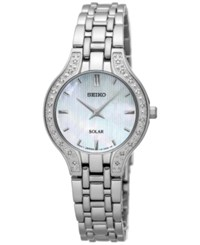 Seiko Women's Solar Diamond Accent Stainless Steel Bracelet Watch 27Mm Sup333 Silver