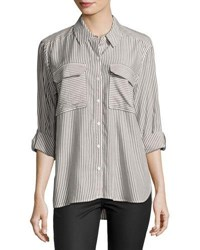 Vince Camuto Long Sleeve Stripe Button Down Shirt Dark Shale