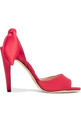 Carven Bow Embellished Satin Sandals Red