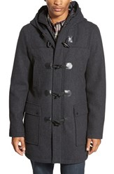 Men's Black Rivet Longline Duffle Coat With Zip Out Bib