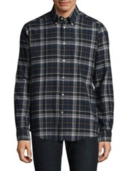 Barbour Checked Cotton Button Down Shirt Navy