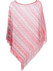 Missoni Fringed Poncho Pink And Purple