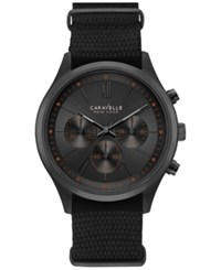 Caravelle New York By Bulova Men's Chronograph Sport Black Nylon Strap Watch 41Mm 45A130