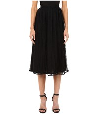 Red Valentino Point D'esprit Tulle Macrame Lace Ribbons Skirt Black Women's Skirt