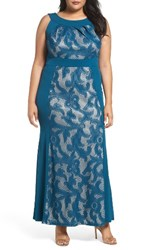 Sangria Plus Size Women's Lace And Jersey Gown Teal Nude