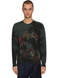 Etro Dragon Printed Wool Knit Sweater Multicolor