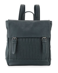 Neiman Marcus Woven Fold Over Backpack Teal