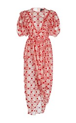 Simone Rocha Embroidered Floral Bib Dress With Beaded Embellishment White Red