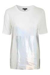 Topshop Holographic Oversized Tee White