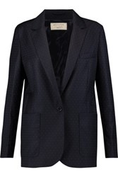Maison Kitsune Polka Dot Wool Twill Blazer Midnight Blue