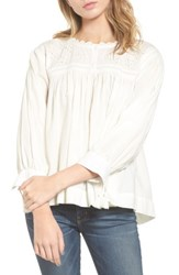 Current Elliott Women's Embroidered Peasant Top Star White