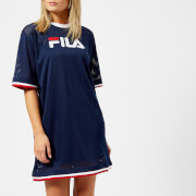 Fila Women's Drew Mesh Dress With Double Colour Trims Navy Red White Blue