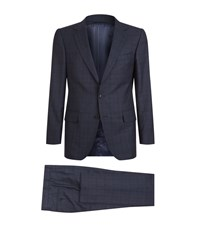 Gieves And Hawkes Sharkskin 2 Piece Suit Male Navy