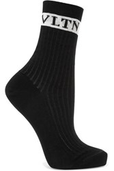 Valentino Intarsia Ribbed Cotton Blend Socks Black
