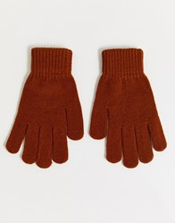 7X Svnx Knitted Gloves In Rust Orange