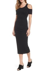Michael Stars Women's Cold Shoulder Body Con Dress Black
