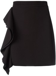 Msgm Ruffled Detail Straight Skirt Black