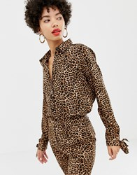 Na Kd Blouse With Tie Sleeves In Leopard Print Multi