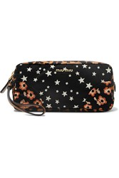 Miu Miu Leather Trimmed Printed Canvas Cosmetics Case Black