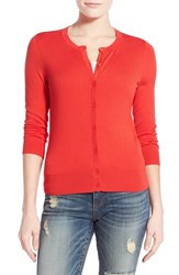 Women's Halogen Three Quarter Sleeve Cardigan Red Bloom