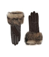 Ugg Three Point Long Toscana Trim Leather Smart Gloves Brown Multi Extreme Cold Weather Gloves