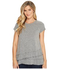 Mod O Doc Marbled Jersey Asymmetrical Flounce Hem Tee Grey Women's T Shirt Gray