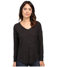 Lilla P Slub Tape Yarn 3 4 Sleeve V Neck Black Pebble Women's Clothing