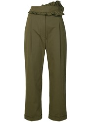 Carven Frilled Trim Trousers Green