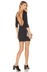 David Lerner Back Strappy 3 4 Sleeve Dress Black