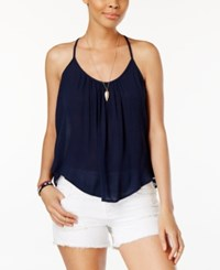 Roxy Juniors' Fly With Me Strappy Crisscross Tank Top Dark Blue